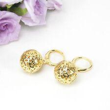 E10 18K Gold Filled Filigree Flower Bead Dangle Huggie Earrings