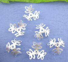 50 Stück Perlenkappen Kappen Blume Perlen silber Farbe NEU Angebot (1060)