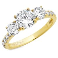 1.8ct Round Cut 3-Stone Engagement Wedding Bridal Ring Solid 14k Yellow Gold