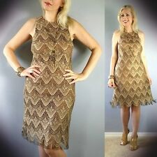 Vtg 80s Gold Cut Out Sheer Scalloped Fringed Metallic Wedding Party Mini Dress