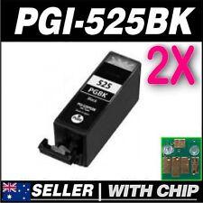 2x Black Ink for CANON PGI-525BK for iP4850 iP4950 iX6550 MG5150 MG5250 MG5350