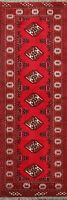 Traditional Geometric Bokhara Oriental Runner Rug Wool Hand-Knotted 2'x6' Carpet
