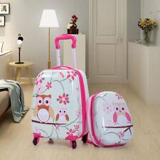 2Pc Kids Carry On Luggage Set Upright Hard Side Hard Shell Suitcase School Bag