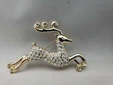 Vtg Monet Clear Rhinestone Gold Plated Reindeer Brooch