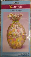 "2 PCS Cottondale Easter Basket Bags with Multi-color Egg Design 24"" x 25"""