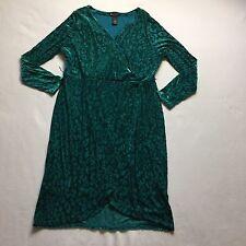 Lane Bryant Collection Women's Sz 18 Wrap Dress Emerald Green Animal Velvet