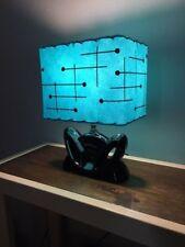 Mid Century Vintage Style Fiberglass Lamp Shade Modern Rectangular Turquoise