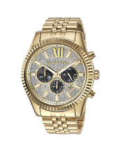 New Michael Kors Lexington Gold Pave Chronograph MK8494 Men's Watch