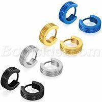 2pcs Men's Womens Frosted Striped Stainless Steel Hoop Huggie Ear Studs Earrings