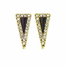 "House Of Harlow Gold tone Acute Black Pave Stud earrings 0.75"" NWT"