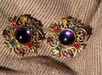 VTG Pierced Earrings Gold Metal Purple Synthetic Stone w Red Grn Orange & Purple