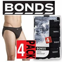 BONDS MENS 4 PACK BLACK ACTION BIKINI BRIEF UNDERWEAR JOCKS SIZE S M L XL XXL
