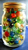 Vintage Marbles In Glass Mason Jar Peltier Akro Agate Alley Agate Vitro More