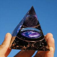 Amethyst Crystal Sphere Orgonite Pyramid with Obsidian Chakra Energy Orgone