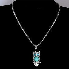 Women Vintage Animal Owl Turquoise Stone Pendant Sweater Chain Choker Necklace