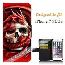 Apple iPhone 7 PLUS Wallet Flip Phone Case Cover Skull Dragon Y00160