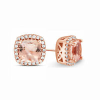 18k Rose Gold Pave Morganite Created Stud Earrings with Swarovski Crystal ITALY