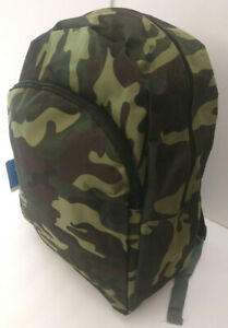 New Green Camo Basic Backpack 16x13x5 Two compartment Padded Straps