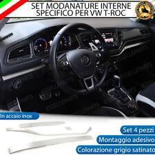 SET MODANATURE CRUSCOTTO INTERNO INTERNI VW T-ROC IN METALLO GRIGIO SATINATO