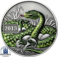 Tokelau 5 DOLLARO ARGENTO 2013 antique finish Anno del Serpente Colored Edition