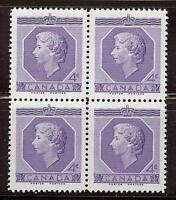 Canada 1953 Sc# 330 set Queen Elizabeth 2 QEII 4c block 4 MNH