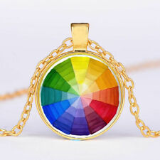"COLORFUL RAINBOW lgbt Crystal pendant GOLD FILLED 18K necklace 20"" chain female"