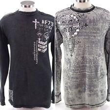 Affliction Mens 2XL Black Gray Reversible Long Sleeve Crew Neck Thermal Tshirt