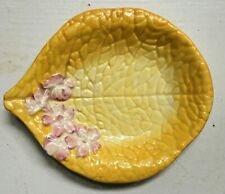 Clarice Cliff Newport Pottery small dish yellow leaf & pink & white flowers