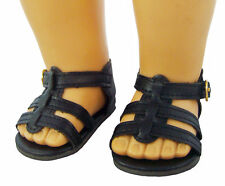 "Black Gladiator Sandals Shoes for 18"" American Girl Doll Clothes Accessories"