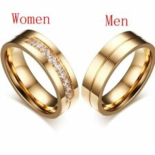 1X Wedding Bands Rings For Love 18K Gold Plated CZ Zirconia Stainless Steel Ring