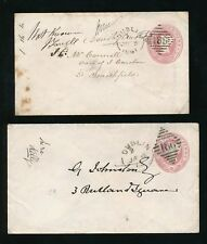 IRELAND 1861 + 1864 STATIONERY INCOMPLETE ADDRESS + NOT KNOWN..2 DIFF 186 DUPLEX