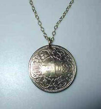 Antique Golden Peseta coin necklace-beautiful design-nicely domed!