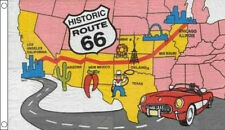 ROUTE 66 FLAG 5' x 3' United States of America US Will Rogers Highway USA Map