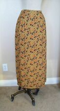 Intriguing Threads Sage Green Floral Vine Print Rayon Lined Long Slit Skirt  16