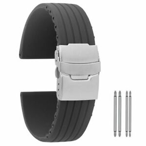 18 20 22mm 24mm Rubber Silicone Military Watch Band Folding Safety Clasp Strap