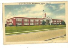 6a - 1940's Linen Postcard - Benson High School in Omaha Nebraska on 52nd Street