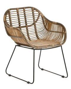 RATTANSTUHL VENUS braun Armlehne Retro Esszimmer Lounge Loft Stühle Korb Sessel