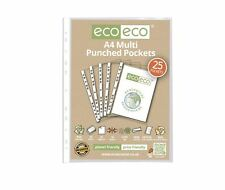 25 x eco-eco A4 100% Recycled Smooth Glass Clear Punched Plastic Pockets