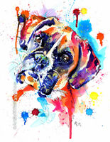 Boxer Dog Art Print Painting Artwork Gifts - Wall Art - Poster Gift