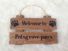 Personalised Rustic Wood House Name Plaque  Signs - Solid wood, Pet Dog Sign