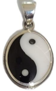 Ying Yang Pendant Black & White 925 Sterling Silver