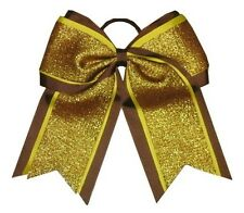 "NEW ""SHIMMER Brown"" Cheer Bow Pony Tail 3"" Ribbon Girls Hair Bows Cheerleading"