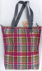 NEW Roxy Bag Shopper/Tote Shoulder Bag School Book Bag Beach Pink/Green Tartan