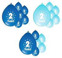 10 x 2ND BIRTHDAY BOY/ AGE 2 BOY BLUE AND BABY BLUE BIRTHDAY BALLOONS (PA)