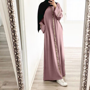 Women Dubai Abaya Muslim Maxi Dress Kaftan Jilbab Long Robe Cocktail Gown