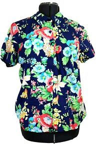 Linea by Louis Dell'Olio QVC Women's L, Fitted Blue Floral Blouse, Short Sleeves