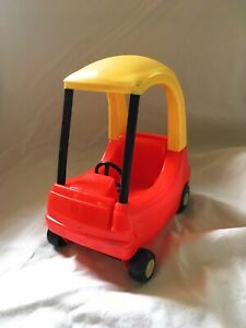 Vintage Little Tikes Dollhouse Cozy Coupe Miniature Red and Yellow Mini Doll Car