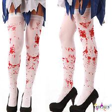 1Pair Women Lady Horror Halloween Party Bloody Nurse Fancy White Long Socks Hot