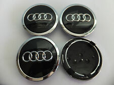 4x 68mm BLACK AUDI ALLOY WHEEL CENTRE HUB CAPS, TT A1 A2 A3 A5 A4 A6 A8 S-Line