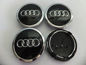 4x 68mm BLACK AUDI ALLOY WHEEL CENTRE HUB CAPS, TT A1 A2 A3 A5 A4 A6 A8 S-Line